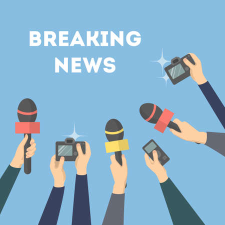 Breaking news illustration. Hands with microphones and camera. Illustration