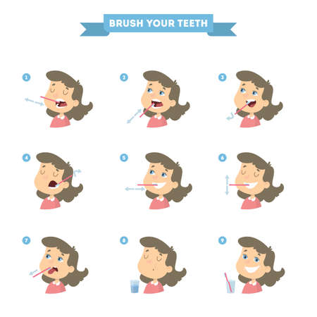 Brush your teeth set with girl. Healthy instruction.