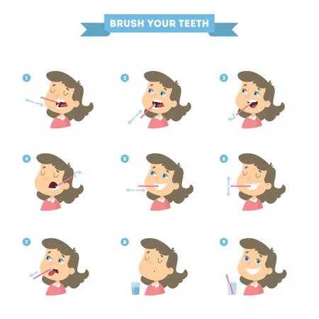 Escove os dentes com uma garota. Instrução saudável. Foto de archivo - 93525362