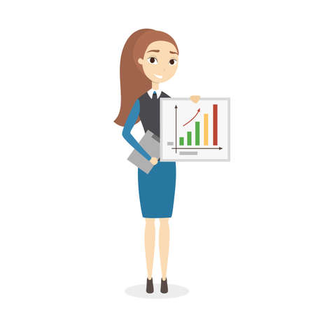 Woman at business presentation standing with chart and graph. Vettoriali