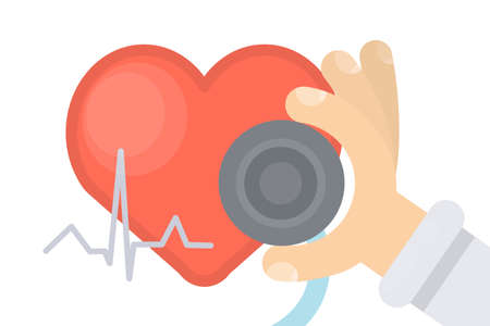 Heart pressure examination and hand with stethoscope.
