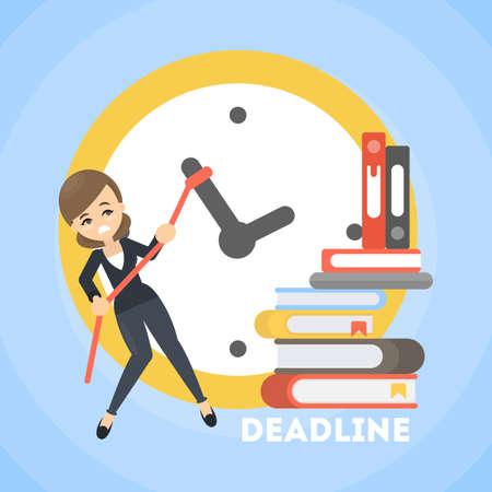 Businesswoman trying to delay deadline. Big clock.