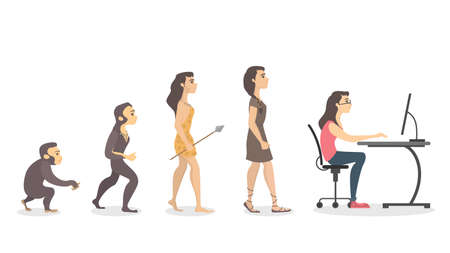 Uma evolução do programador no fundo liso. Ilustración de vector