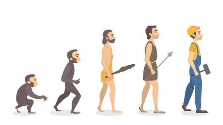 An Evolution of man on plain background. 矢量图像