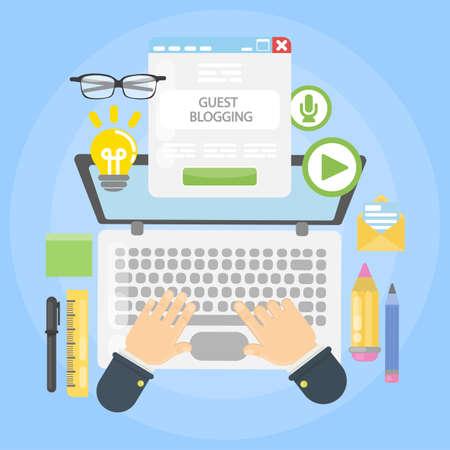 Guest blogging desk on plain background. Illustration