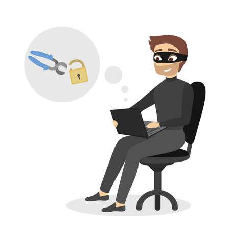Isolated male hacker on plain background.