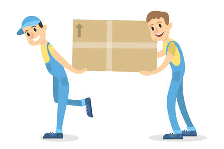 Delivery men with box moving on white. 版權商用圖片 - 93528195