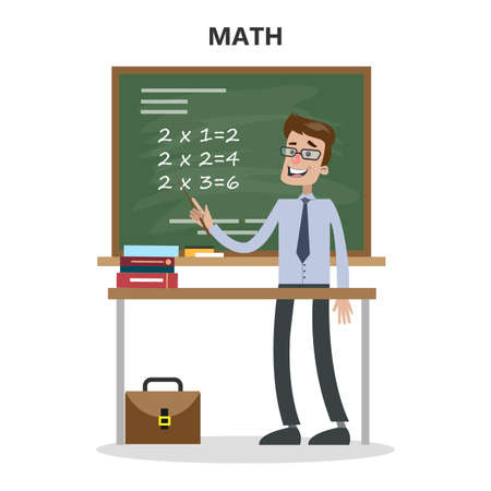 Isolated math teacher with board and table on white. Stock Illustratie