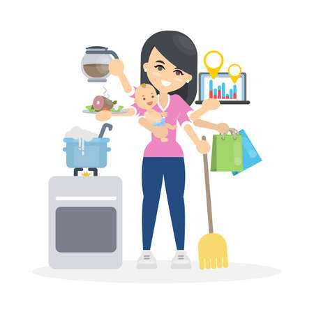 Isolated multitasking woman with six hands. Baby and shopping, business and food.