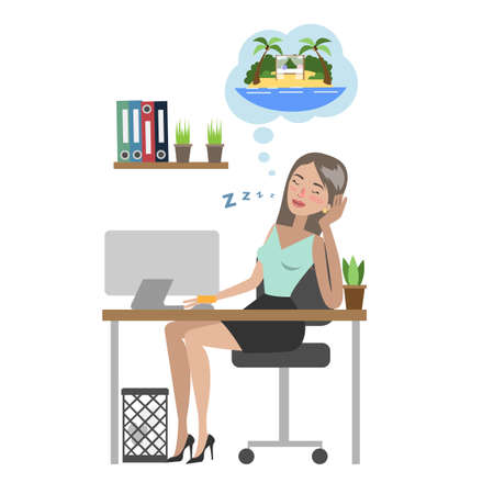 Businesswoman dreaming about vacation and sitting at office. Illusztráció