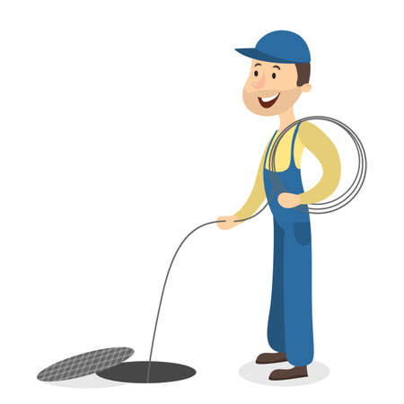 Isolated plumber man with ropes on white background. Illustration