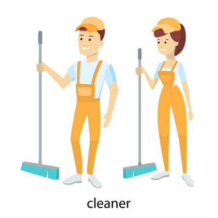 Isolated cleaners couple in unifrom with broom.