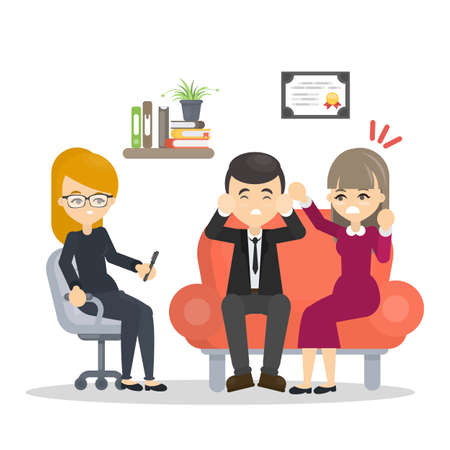 Couple at psychologist. Counseling at the office. Illustration