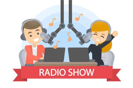 Présentateur d'émissions de radio avec casque et microphones.