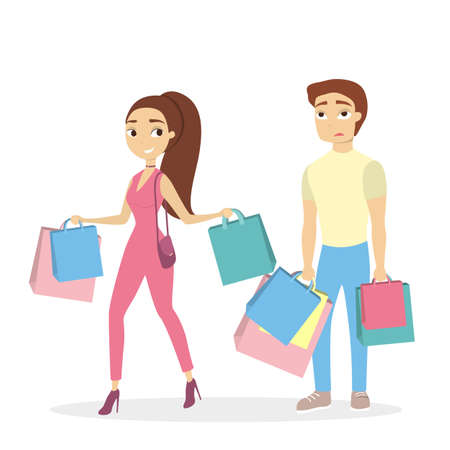 Isolated couple shopping with bags on white background.