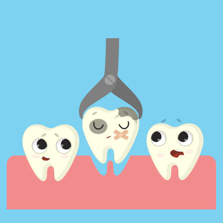 Usunięcie złego zęba. Kreskówka śmieszne zęby w ustach. Ilustracje wektorowe