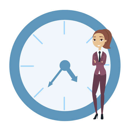 Businesswoman leaning on clock and resting. White background.