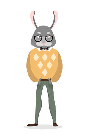 Isolated rabbit man with human body on white.