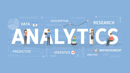 Analytics concept illustration. Idea of analysis, data and information.