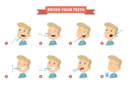 Brush your teeth. Vector illustration. Vectores