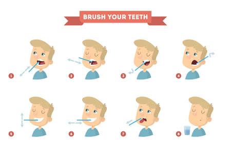 Brush your teeth. Vector illustration. Vettoriali
