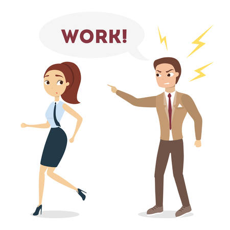 Boss shouting at employee. Vector illustration.