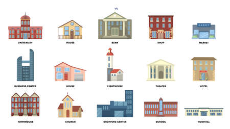 City buildings set. Vector illustration. Vettoriali