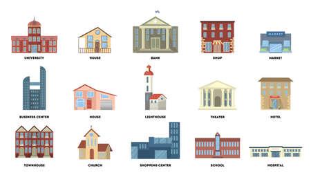 City buildings set. Vector illustration. Stock Illustratie