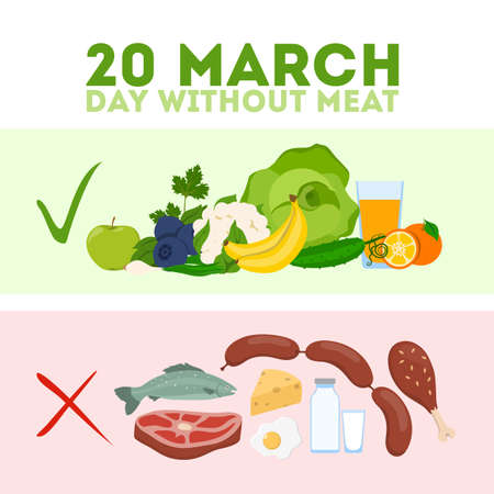 Day without meat. Meatout for healthy eating and balance. Illustration