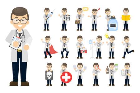 Doctor man set. Vector illustration. Vettoriali