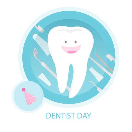 Gelukkige tandartsdag met witte tand en artsenapparatuur.