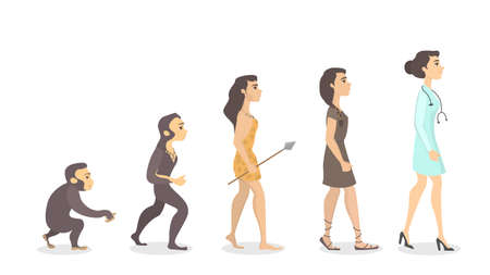 Evolution of doctor. From monkey to female doctor.