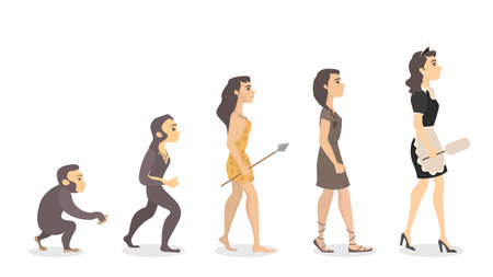 Evolution of maid. From monkey to female cleaner.