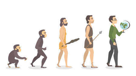Evolution of teacher. From monkey to male teacher with globe. Stock Illustratie