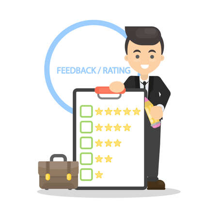 Man with feedback stars. Showing rating system. Vettoriali