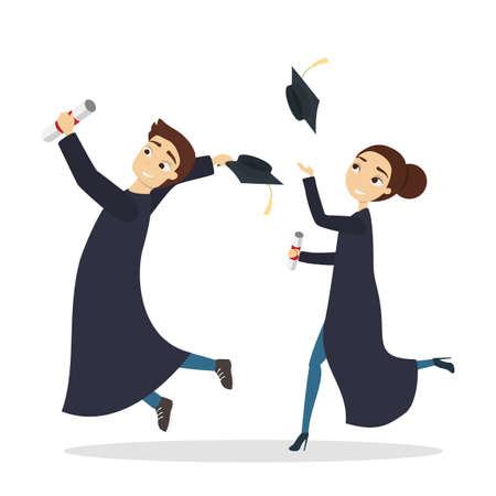 Isolated graduatd students. Illustration