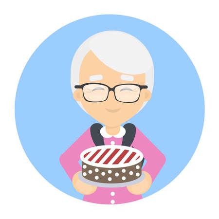 Grandmother with cake.