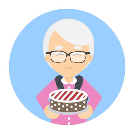 Grandmother with cake.