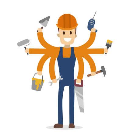 Multitasking construction worker. Illustration