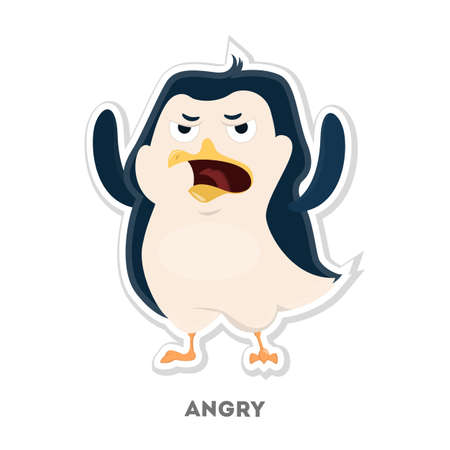 Isolated angry penguin. Illustration