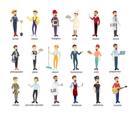 Profession men set. Police and firefighters, businessmen and doctors. Stock Illustratie