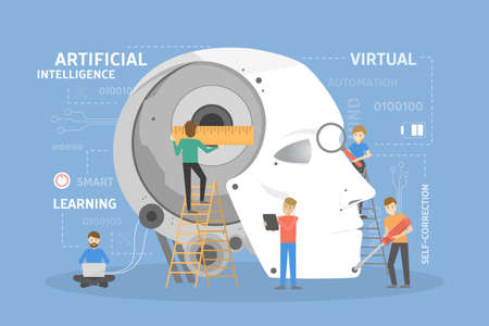 Robot head construction. People creating artificial intelligence. Illustration