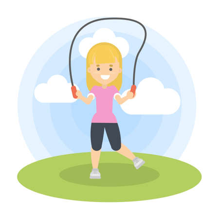 Woman jumping outdoors with jump rope. Sport and fitness.