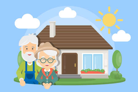Old couple with house. Senior people standing near mansion. Stock Illustratie