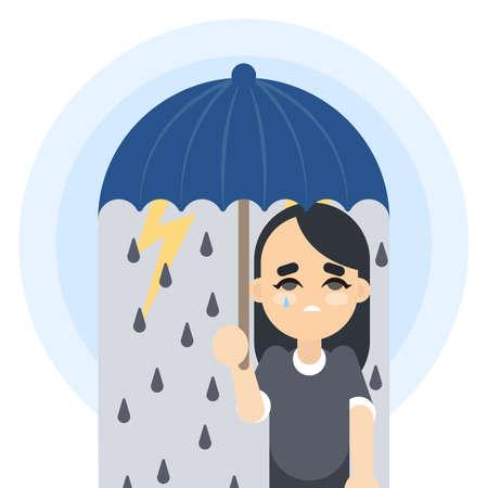 Sad woman with umbrella illustration. Illustration