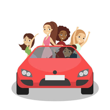 Happy women in the car driving for party. Ilustração