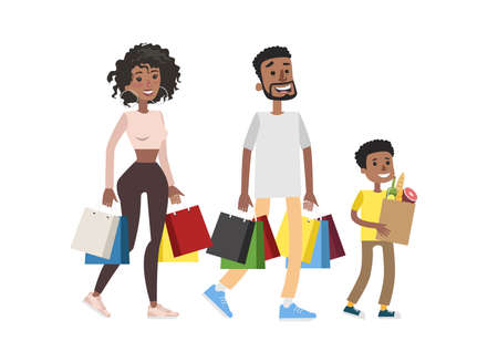 Isolated family shopping at grocery store on white background. Illustration