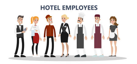 Maids and cleaning service, chef and receptionist. Illustration