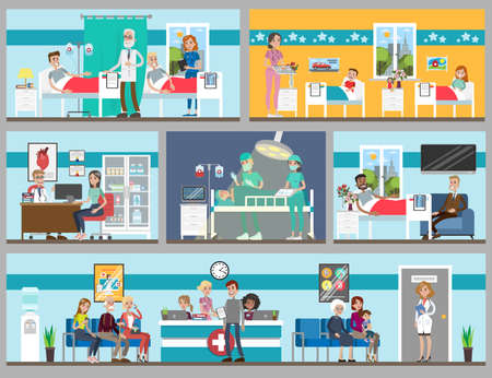 Hospital rooms set. Doctor's office and ward, children and adults. Stock Illustratie