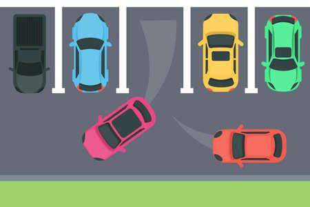 駐車トップビューイラスト。  イラスト・ベクター素材